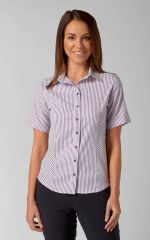 Annika - Short Sleeve Stripe Work Blouse