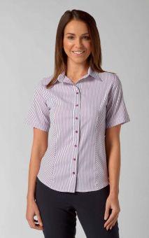 Annika - Short Sleeve Stripe Work Blouse