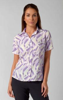 Chloe - Short Sleeve Patterned Work Blouse