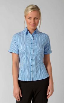 Louise - Short Sleeve Stripe Work Blouse